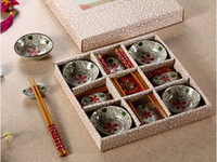 CE / EU, CIQ, EEC, FDA, LFGB, SGS big chopsticks - Creative Pieces Japanese Ceramics Sushi Dishes Gift Set with Bamboo Chopsticks and Holder Hand Painted Big Red Flower Pattern