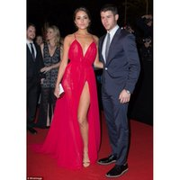Wholesale Michael Costello Olivia Culpo Rosy Sexy Red Celebrity Dresses High Split Backless Red Carpet Gowns Deep Sweetheart Gowns