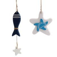 Wholesale Mediterranean Style Home Stores Decoration Ornaments Hanging Wood Crafts Fish Starfish