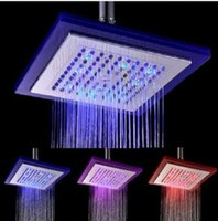 Wholesale 8 quot Large Square Bathroom temperature change RGB LED Light Shower Head