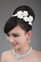 Wholesale 2014 Fall Bridal Hair Accessories Silver Bead Crystals Pearls Bridal Flowers Hair Tieres Earring And Necklace Set Sparkle Wedding Decoration