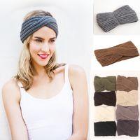 Wholesale Hot sale Flower Winter Ear Warmer headbands color Wool Crochet Headband Knit winter Handmade Hair band Colors D697L