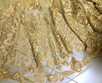 Wholesale yards pc Gold embroidered French net lace fabric soft African tulle lace fabric with of pearl beads for dressFXL04