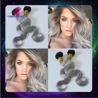 Cheap Hot Sale Ombre 1B Silver Hair Extensions 3Pcs Lot,Cheap Ombre Indian Virgin Hair Dip Dye Grey Human Hair Weave