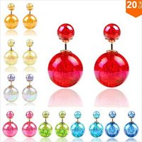 Wholesale New Design Fashion Bright Colorful Shiny gem Double Beads Charm Ball earring jewelry b2hfb5D