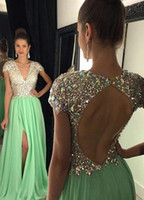 Wholesale 2016 MInt Green Rhinestones Prom Dresses Deep V neck Tight High Split Evening Dress Long Cap Sleeve Backless Pageant Gown Luxury shj