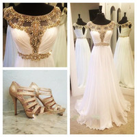 Wholesale 2015 Elegant Empire Wedding Dresses Chiffon Zipper Backless Beaded Crystal Luxury Floor Length Country Bridal Gowns Plus Size