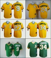 anti finger - Oakland Athletics Jersey Reggie Jackson Rickey Henderson Rollie Fingers Yellow Green Stitched Throwback Baseball Jersey