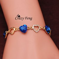 Wholesale Romantic Heart Bracelet k Yellow Gold Plated Women Link Bracelet Crystal Chain Bracelets Bangles Hot OL Bracelet A2