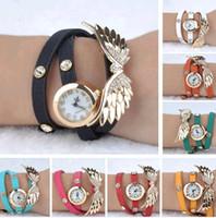 batteries eagles - Women Girl Angel Wings Bracelet Watch Eagle Wing Rhinestone Leather Quartz Watch