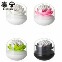 Wholesale Plastic toothpick holders creative lotus flower design shape cotton swab holders with lid kitchen organizer Y