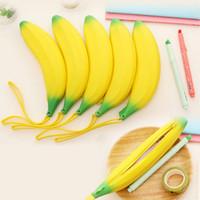 Cheap 1 pcs novelty banana pencil case kawaii pencil bag rubber coin purse estuches school supplies stationery