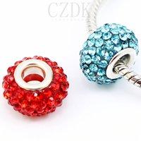loose shamballa beads - Top Quality shamballa glass beads silver double core Big Hole glass Beads Loose beads