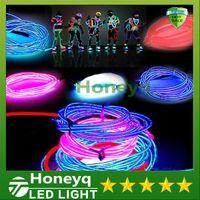 Wholesale 3M Led Flexible Neon Light Glow EL Wire Rope Tube Flexible Neon Light Colors Car Dance Party Costume Controller Holiday Decor Light