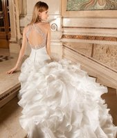 Cheap 2015 A Line Organza Wedding Dresses Halter Straps Sweetheart Sleeveless Pleat Ruffle Covered Button Bridal Gowns Chapel Train Demetrios 3219