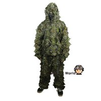 archery suit - Airsoft D Leaf Camo Clothing Ghillie Suit Hunting Military Tactical Bionic Disguise Sniper Archery Uniform Camouflage Clothing