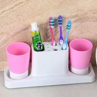 Wholesale 4colors Creative Toothbrush Holder with Gargle Cup Toothbrush Stand Rack Two Rinse Cups Plastic Bathroom Set