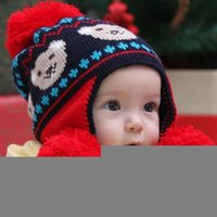 baby bear hat knitting pattern - 2012 New children hats arrive in Winter children Knitting hat baby headwear with ball top baby protective cap with bear pattern