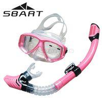 Wholesale SBART Professional Waterproof Anti fog Glasses Equipment Silicone Scuba Diving Mask Full dry Snorkel Swimming Snorkeling Goggles
