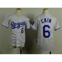 authentic kids brand - New Fashion Boys Baseball Apparels Royals Lorenzo Cain White Baseball Jerseys Cool Base Authentic Kids Baseball Wears Brand Sport Jerseys