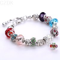 Bohemian european charm bracelet - AA Colors Fashion Sterling Silver Daisies Murano Glass Crystal European Charm Beads Fits Charm bracelets Style Bracelets Adjustable