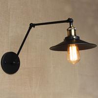 belt switch - Bedroom Bedside Lamp Hotel Engineering Restaurant Retro Matte Black Belt Long Arm Double Switch Wall