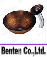 bathroom vessel bowls - 2015 Hot Bathroom tempered Glass Vessel Vanity print color Sink bowl with faucet LLFA4195F
