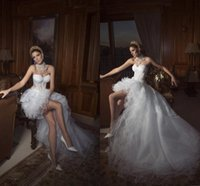 Cheap 2015 New Sexy Hi-Lo Wedding Dresses Sweetheart Lace Corset Bridal Gowns Front Long Back Short See-Through Organza Custom made