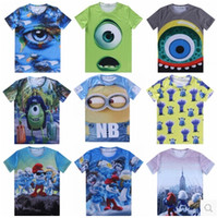 animations shirts - Fashion Printed T Shirt D Model Animations Minions Tshirts Men Women Animal Cartoon Simpsons Tee Tops Round Neck Short Sleeve