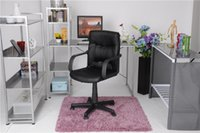 Wholesale US stock PU Leather Office Computer Chair with Arms height adjustable with front PU back PVC cover PA feet casters PP arm