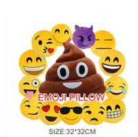 Wholesale Hot Soft Emoji Pillows Covers Smiley Emoticon Cartoon Facial Expression Creative Cushion Yellow Round Stuffed Plush Toy Doll Cushion Pillow