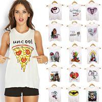 beauty t shirts - Free DHL Summer cool pizza vest d printed feminina beauty tank tops sweet Kawaii women sleeveless t shirts cotton clothing