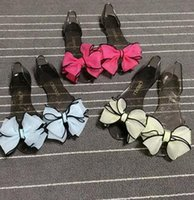 Wholesale Women Sweet Bowtie Crystal Jelly Sandals classic lady girl teen Summer beach Flat Sandals Fisherman Shoes candy colors gift drop shipping