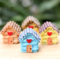 Wholesale artificial mini house building Ornament fairy garden miniatures toys gnome moss terrarium decor resin crafts bonsai home decor for DIY Zakka
