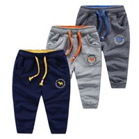 baby sweatpants - 2016 Korea Kids baby boy clothing cartoon Embroidery casual Knitting boys sports pant boys Trousers terry Sweatpants Spring Fall cotton