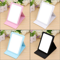 Wholesale New Fashion Portable Folding Leather Makeup Mirrors Lady Girl Travel Compact Hand Pocket Cosmetic Mirror