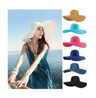 Cheap 2015 new Fashion Summer Women Ladies Foldable Wide Large Brim Floppy Beach Hat Sun Straw Hat Cap