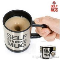 stainless steel mug - Automatic coffee mixing cup mug bluw stainless steel self stirring electic coffee mug ml Black