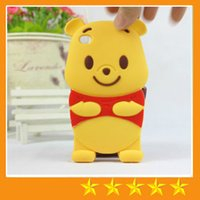 winnie the pooh s4 - 3D Cute Cartoon Winnie the Pooh Silicon Case For iphone S iphone plus Samsung galaxy S3 S4 S5 Note free