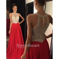 Wholesale Red Sexy Prom Dressess A Line Keyhole Evening Gowns Sweep Train Sequins Beaded Party Dresses Evening Wear W6702