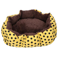 Wholesale 35 Comfortable Polka Dot Small Size Pet Bed Dog Kennel Doghouse Cat Bed Yellow Color XQ085