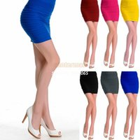 high waisted shorts - 2014 New Top Sale Women Office Ladies Slim Fit Bandage High or Low Waisted Stretch Mini Short Pleated Skirt