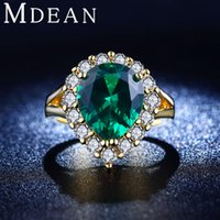 big green jewelry - 18K Gold Plated rings cz diamond jewelry Green gem inlaid big CZ diamond Engagement Classic Round rings for women MSR201