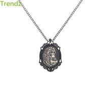 best skull pendant - Min Gothic Steampunk Vintage Lady Skull Skeleton Cameo Locket Pendant Hand Painted Black Chain Necklace Best Halloween Gift STPK15064