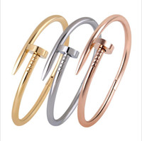 South American copper nail - 2015 New TOP QUALITY Stainless Steel Nail Bracelet Silver Rose Gold K Real Gold Plated Womens mens Jewelry Nail Screw Cuff Bangles