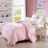 Wholesale Single Full Queen king size kg weight Organic Duck Down Heavyweight Spring Autumn quilted white pink Comforters cotton shell