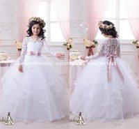 Wholesale Vintage Lace Long Sleeves Flower Girls Dresses Ball Gown Tutu Blush Sash Ruffles Floor Length Girls Pageant Dress Kids Communion Gowns