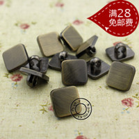 antique sewing supplies - Square antique brass wire drawing plastic shirt cardigan button collar decoration buckle for sewing supplies