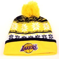 basketball laker - Wholesales New Design Knit Skull Sports Basketball Cap Out Door Warm Winter Hats Women and Mens Laker Beanies With Pom Yellow
