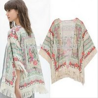 antique kimonos - Limited women clothing Tassel New Antique Flower Fringed Shawl Sweater Chiffon Kimono Cardigan Coat Jacket